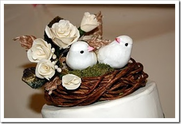 Balsa Wood Flower Birds Wedding Cake Toppers-1