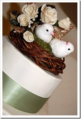 Balsa Wood Flower Birds Wedding Cake Toppers